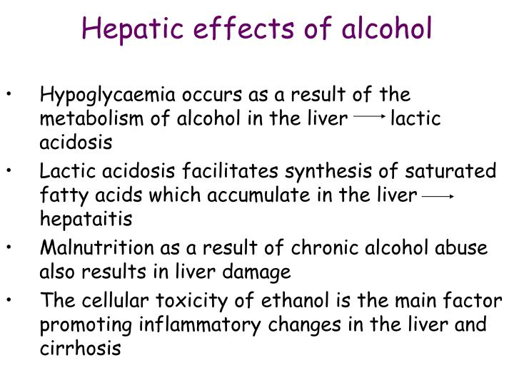 Hepatic effects of alcohol