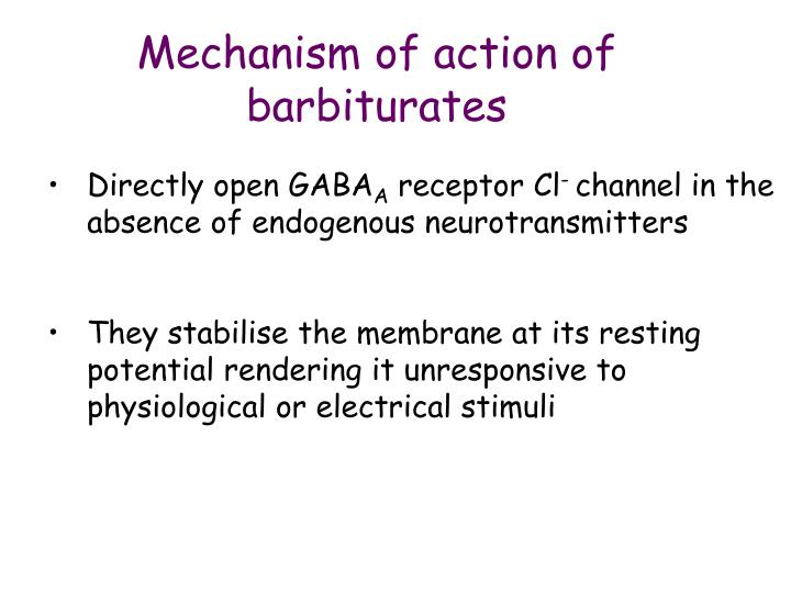Mechanism of action of barbiturates