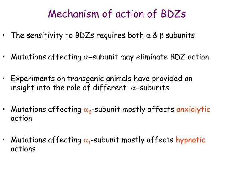 Mechanism of action of BDZs
