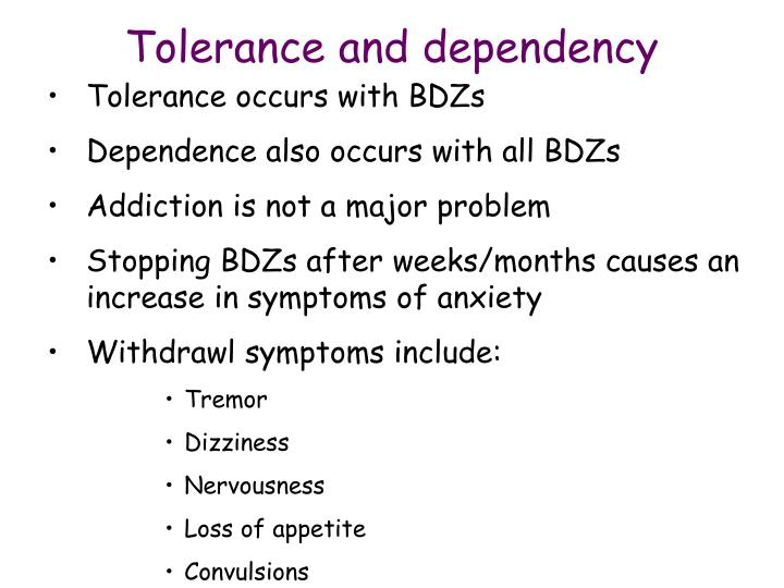 Tolerance and dependency