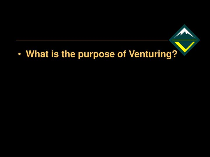 What is the purpose of Venturing?