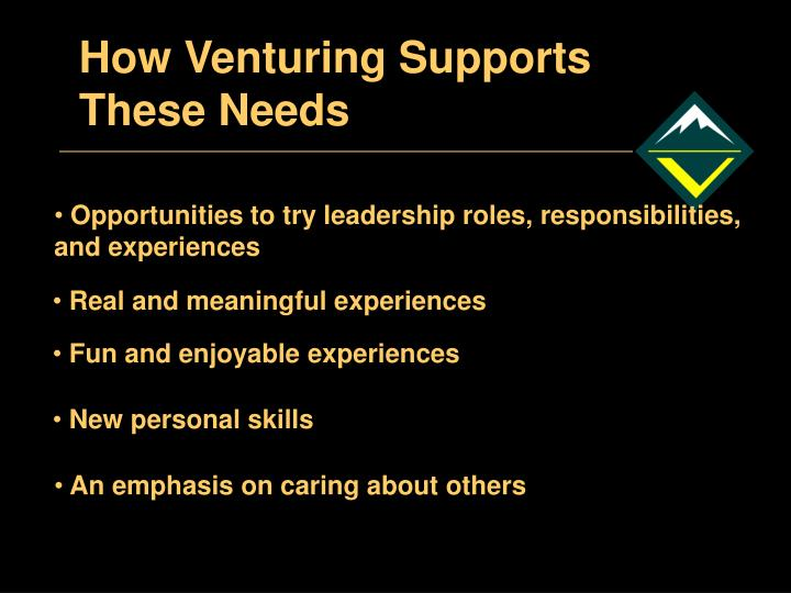 How Venturing Supports These Needs