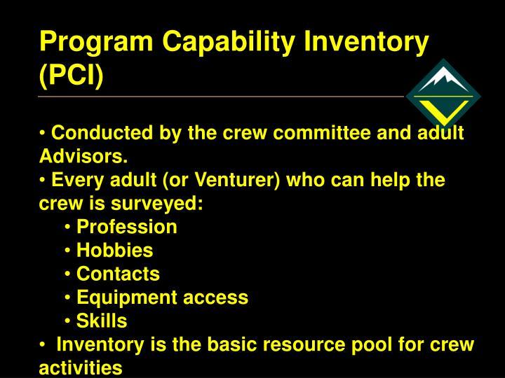 Program Capability Inventory (PCI)