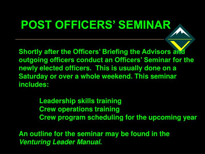 POST OFFICERS' SEMINAR
