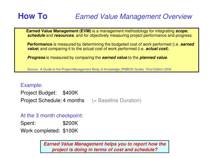 How to earned value management overview