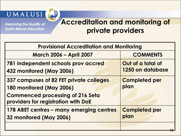 Accreditation and monitoring of private providers