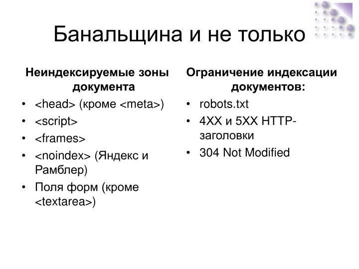 Неиндексируемые зоны документа