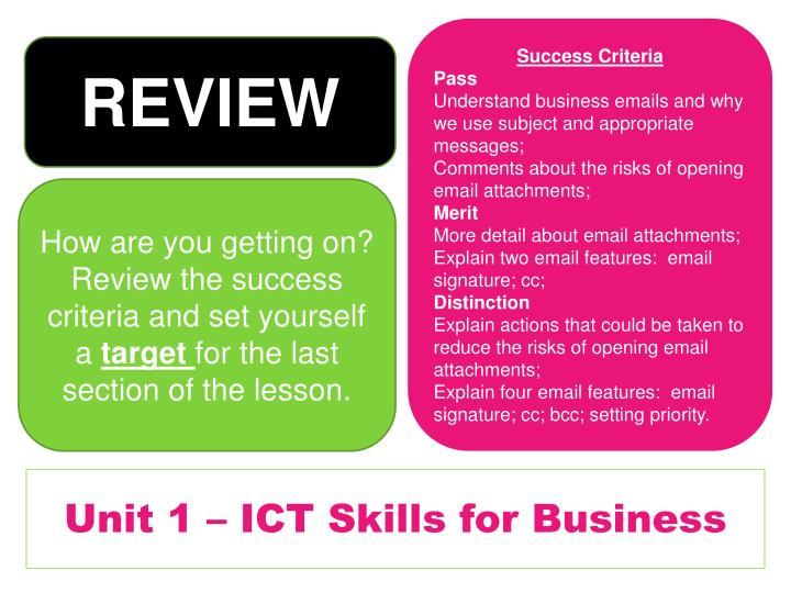 Unit 1 – ICT Skills for Business