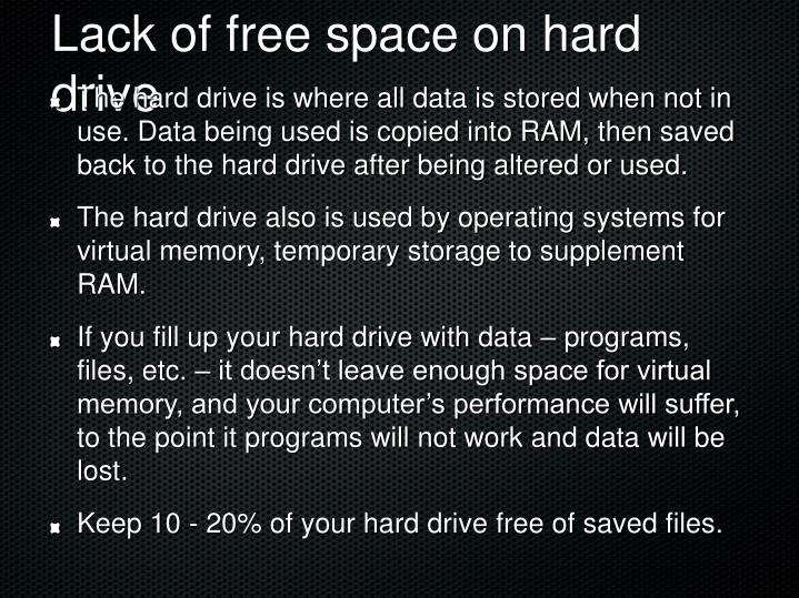 Lack of free space on hard drive