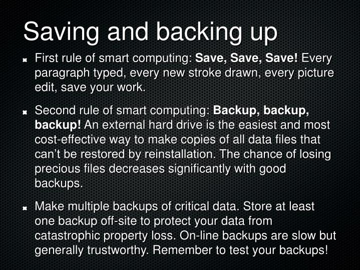 Saving and backing up