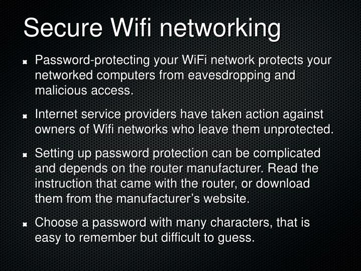 Secure Wifi networking