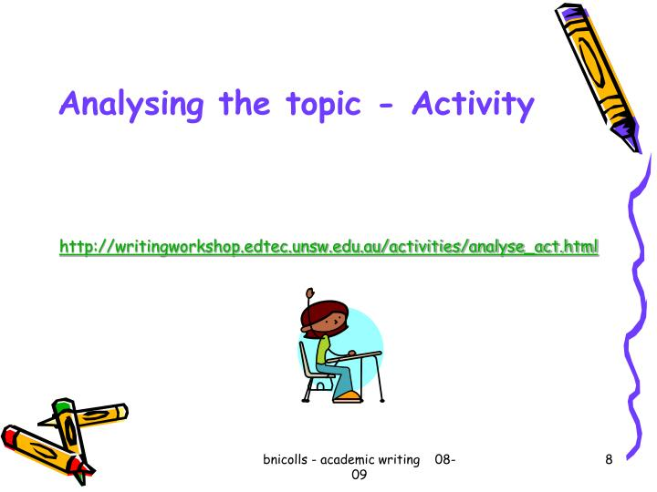 Analysing the topic - Activity