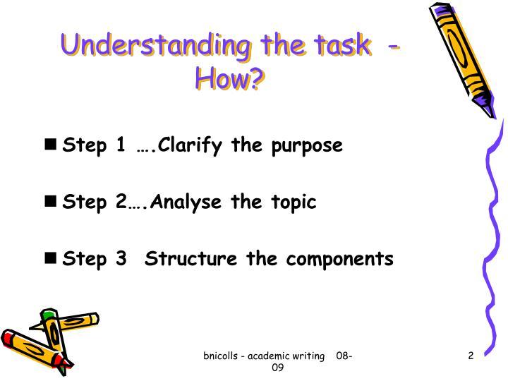 Understanding the task  - How?
