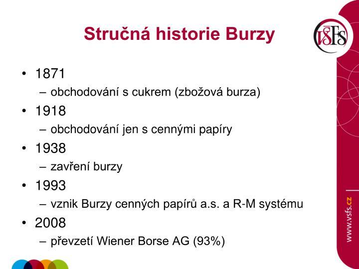 Stručná historie Burzy