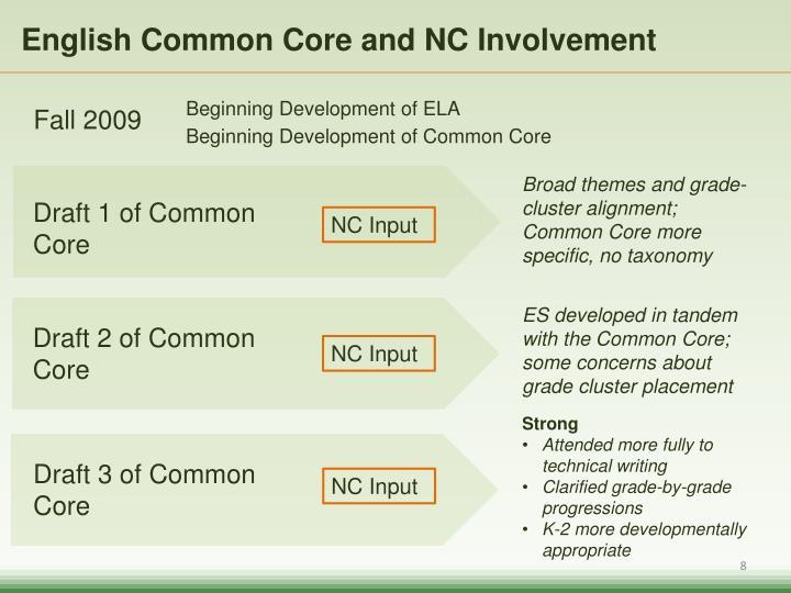 English Common Core and NC Involvement