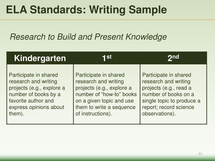 ELA Standards: Writing Sample