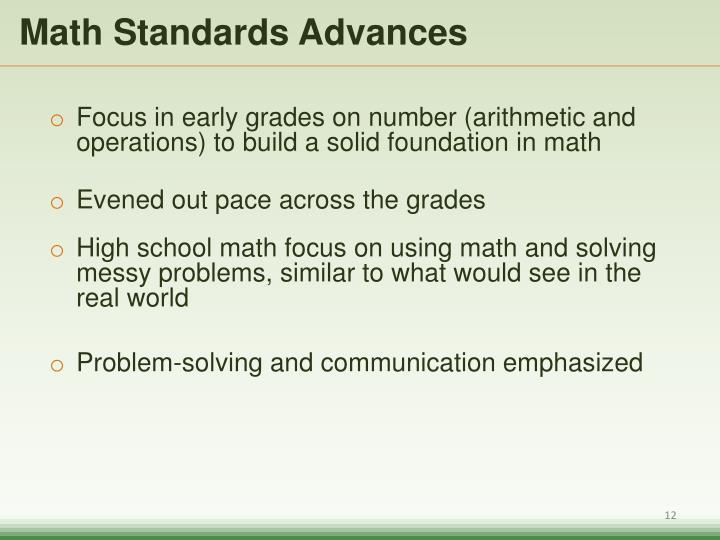 Math Standards Advances