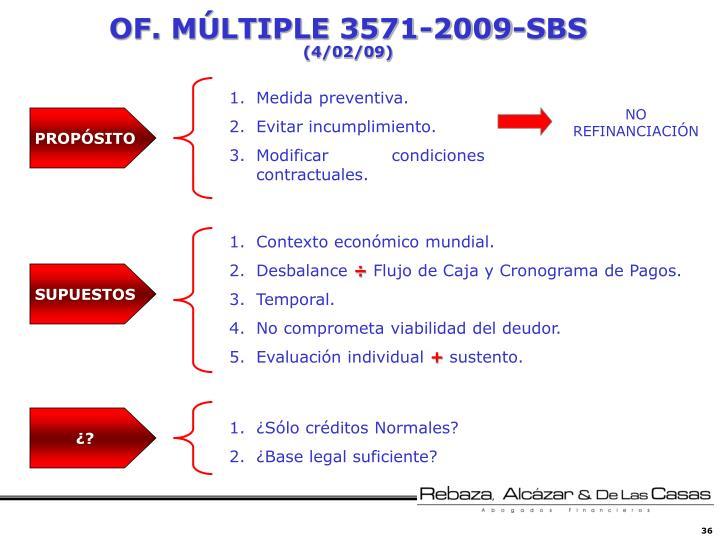 OF. MÚLTIPLE 3571-2009-SBS