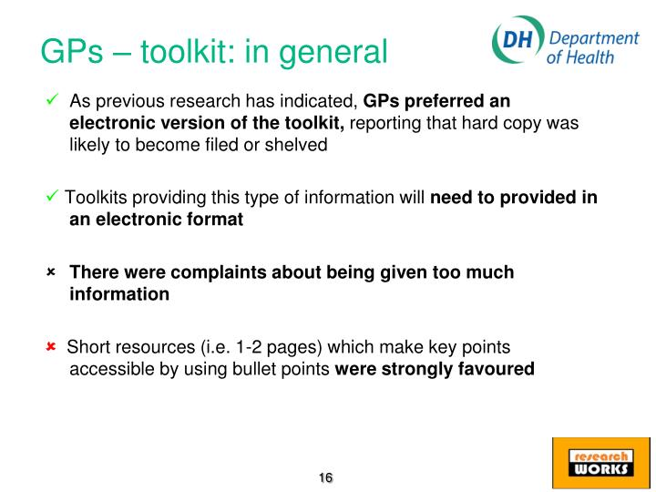 GPs – toolkit: in general