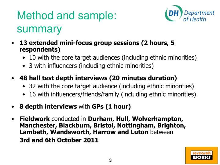 Method and sample: summary