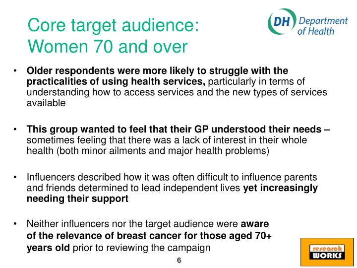 Core target audience: Women 70 and over