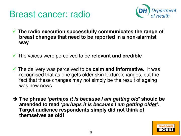 Breast cancer: radio