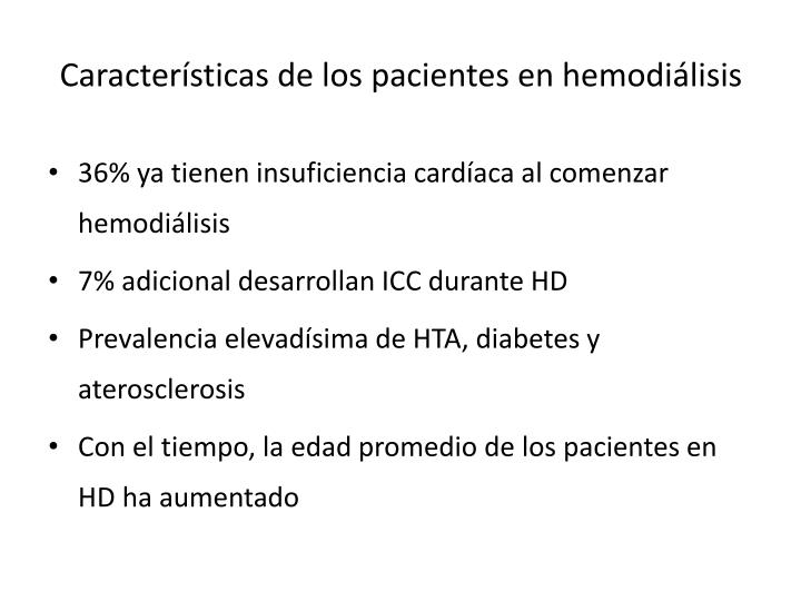 Características de los pacientes en hemodiálisis