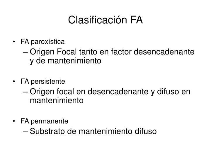 Clasificación FA