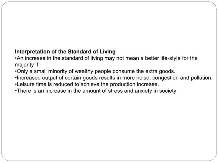Interpretation of the Standard of Living