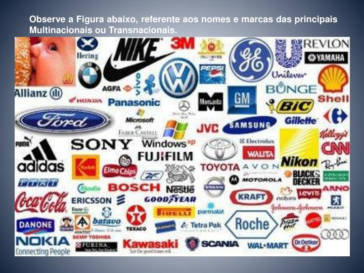 Observe a Figura abaixo, referente aos nomes e marcas das principais Multinacionais ou Transnacionais.