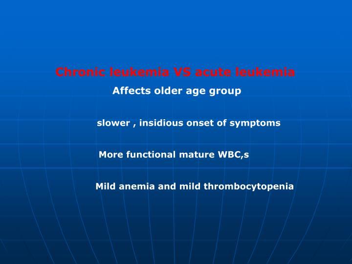 Chronic leukemia VS acute leukemia