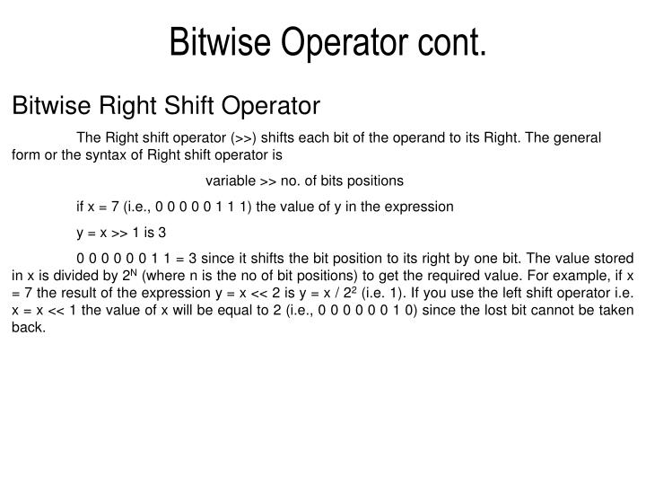 Bitwise Operator cont.