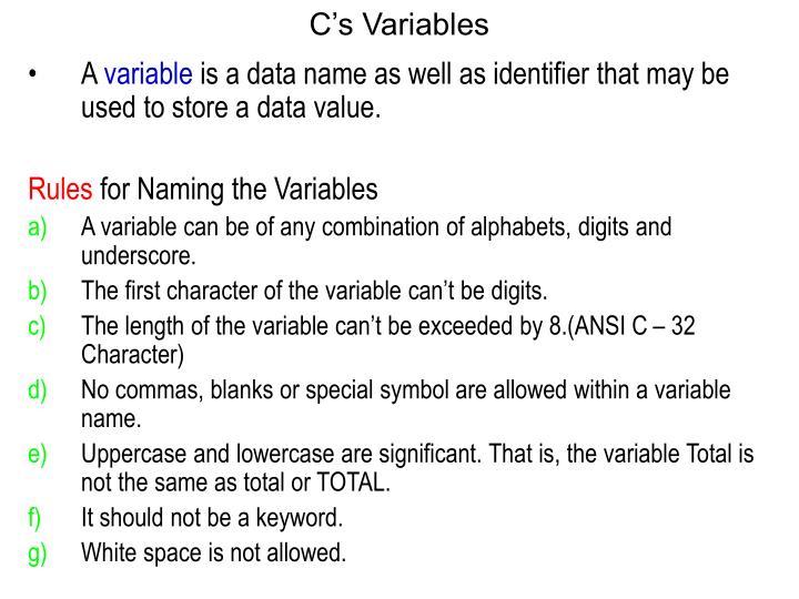 Cs Variables