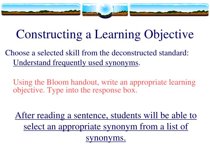 Constructing a Learning Objective