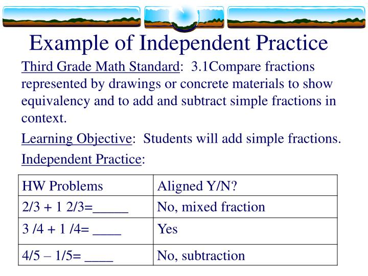 Example of Independent Practice