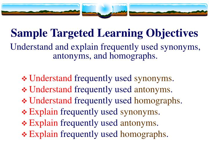 Sample Targeted Learning Objectives