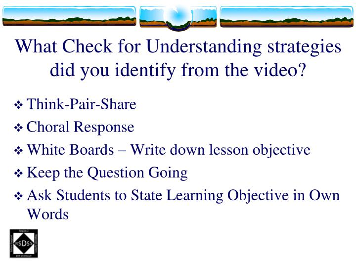What Check for Understanding strategies did you identify from the video?
