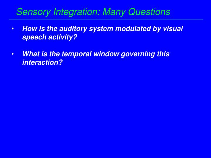 Sensory Integration: Many Questions