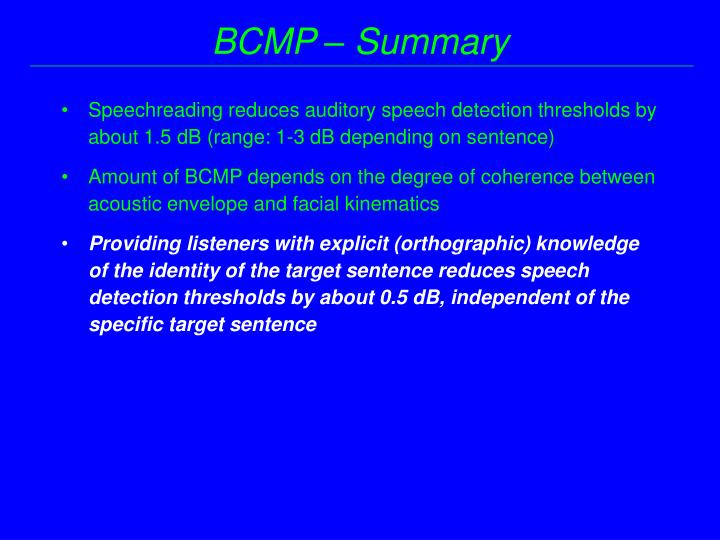 BCMP – Summary
