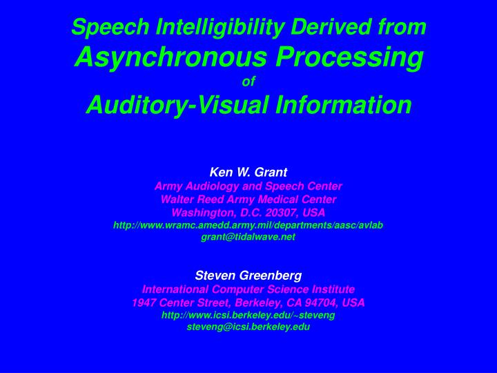 Speech Intelligibility Derived from