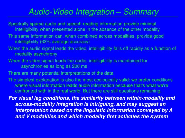 Audio-Video Integration – Summary