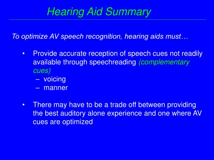 Hearing Aid Summary