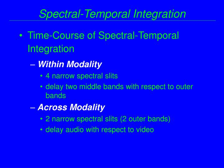 Time-Course of Spectral-Temporal Integration