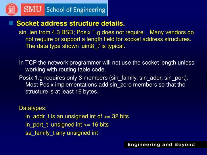 Socket address structure details.