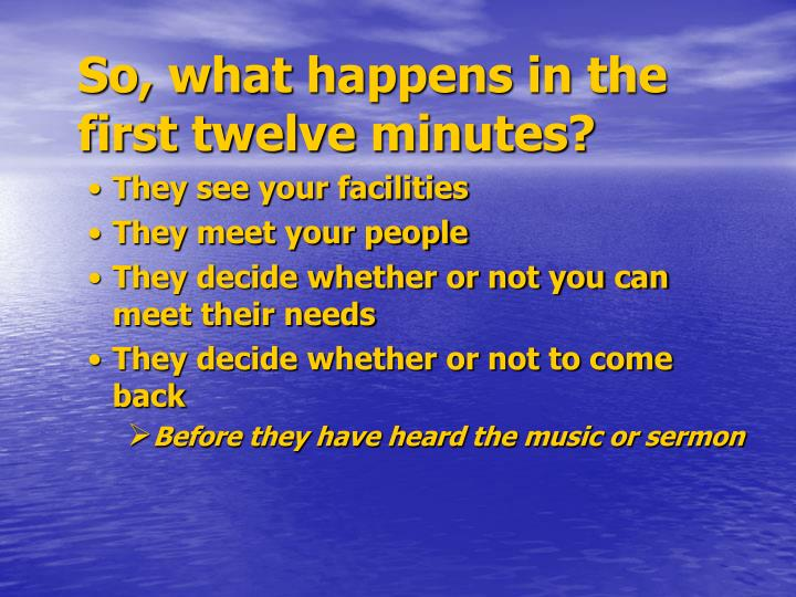 So, what happens in the first twelve minutes?