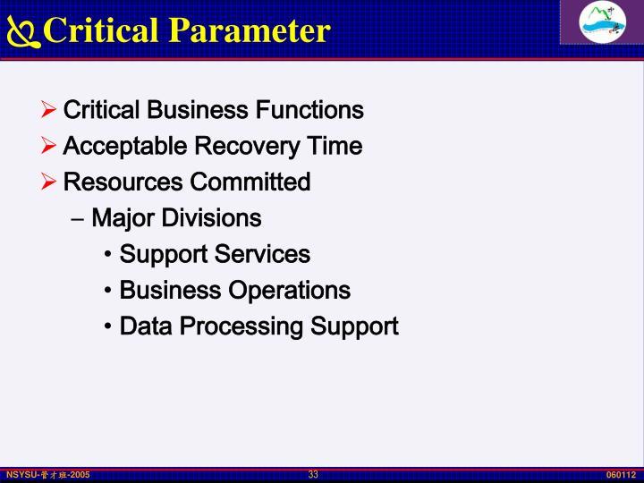 Critical Parameter