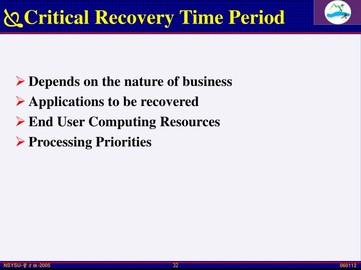 Critical Recovery Time Period