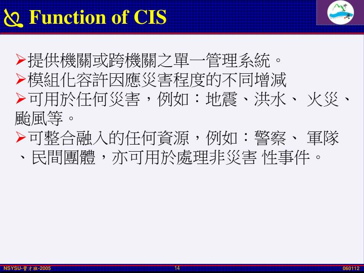 Function of CIS