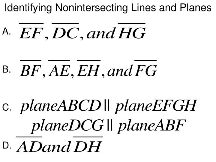 Identifying Nonintersecting Lines and Planes