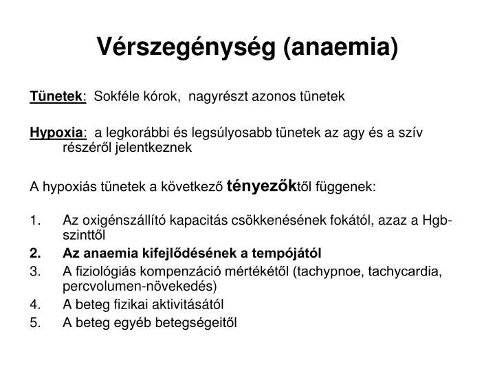 Vérszegénység (anaemia)